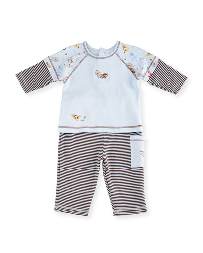 Playful Pups Pima Pajama Set, Light Blue, Size 6-24 Months