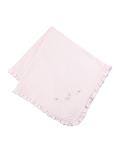 Lilac Blooms Pima Polka-Dot Baby Blanket, Pink