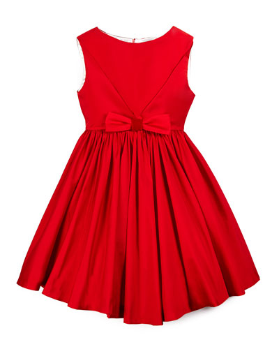 Sleeveless Taffeta Party Dress, Red, Size 7-14