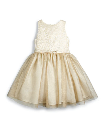 Sleeveless Brocade & Tulle Party Dress, Gold, Size 18M-3T