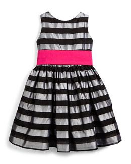 Sleeveless Striped Silk Organza Dress, Silver, Size 7-14