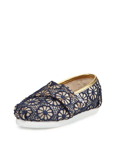 TOMS Glitter & Floral-Crochet Classic Shoe, Gold/Navy, Tiny