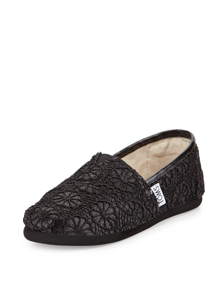TOMS Glitter & Floral-Crochet Classic Shoe, Black, Youth