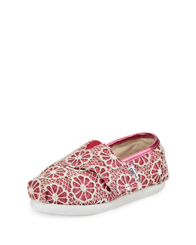 Glitter & Floral-Crochet Classic Shoe, Pink/Cream, Tiny