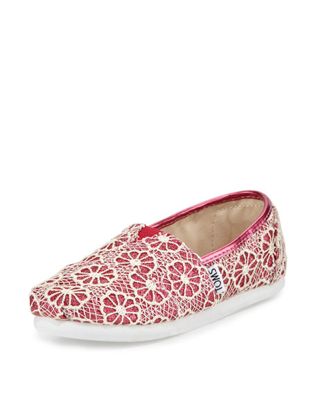 TOMS Glitter & Floral-Crochet Classic Shoe, Pink/Cream, Youth