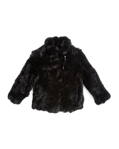 Rabbit-Fur Biker Jacket, Black, Size 2-14