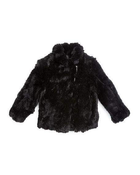 Adrienne Landau Rabbit-Fur Biker Jacket, Black, Size 2-14