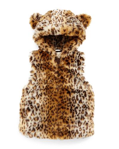 leopard-print faux-fur vest, tan, size 2-6