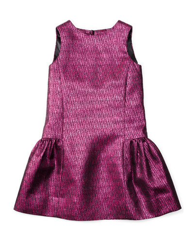 Sleeveless Metallic-Jacquard Party Dress, Fuchsia, Size 4-7