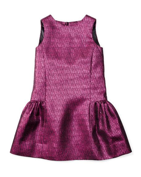 Milly Minis Sleeveless Metallic-Jacquard Party Dress, Fuchsia, Size 4-7