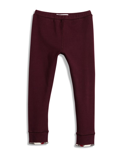 Penny Check-Cuff Leggings, Burgundy, Size 6M-3T