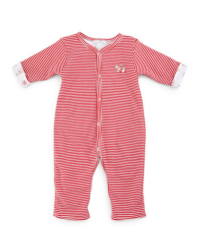 Yuletide Reversible Pima Coverall, Red, Size 3-18 Months