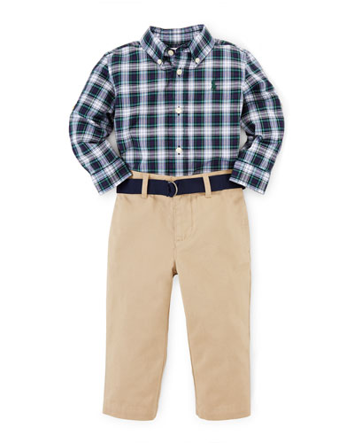 Long-Sleeve Plaid Shirt & Chino Pants, White/Blue, Size 9-24 Months