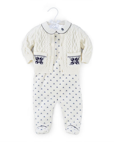 Printed Pima 3-Piece Set, Warm White/Navy, Size 3-9 Months