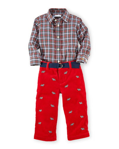 Plaid Poplin Shirt & Corduroy Pants, Red, Size 9-24 Months