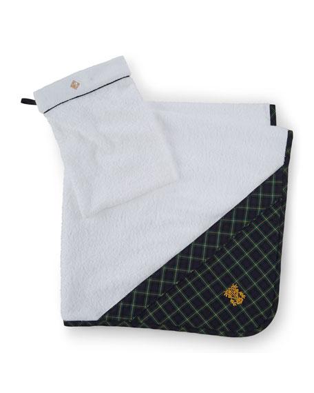 Ralph Lauren Classic Towels: Ralph Lauren Hooded Plaid-Trim Towel, White/Navy