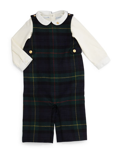 Tartan Plaid Wool-Blend Overalls w/ Cotton Playsuit, Navy/Forest, Size 9-24 Months