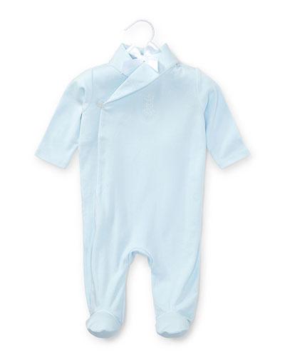 Shawl-Collar Pima Footie Pajamas, Beryl Blue, Size 3-9 Months