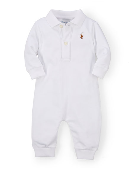 Ralph Lauren Childrenswear Long-Sleeve Pima Polo Coverall, White,