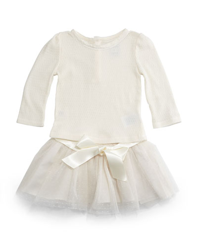 Pointelle Top & Tulle Skirt Set, Guide Cream, Size 9-24 Months