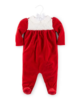 Velour Lace-Trim Coverall, Park Avenue Red, Size 3-9 Months