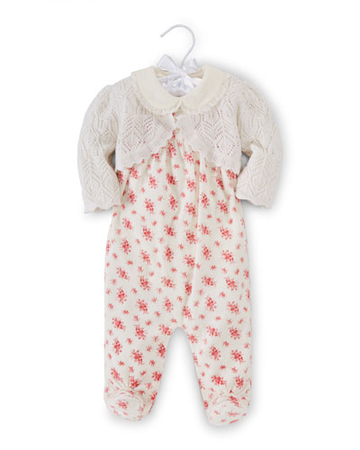 Printed Pima Three-Piece Set, Warm White/Pink, Size 3-9 Months