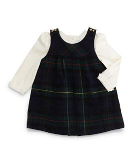 Tartan Plaid Wool-Blend Jumper w/ Pima Playsuit, Navy/Forest, Size 9-24 Months