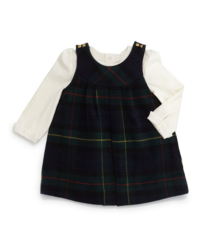 Tartan Plaid Wool-Blend Jumper w/ Pima Playsuit, Navy/Forest, Size 9-24 Months