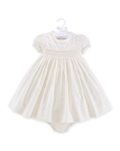Embroidered Cap-Sleeve Corduroy Dress & Bloomers, Antique Cream, Size 9-24 Months