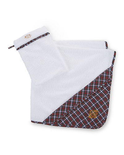 Hooded Plaid-Trim Towel, White/Red