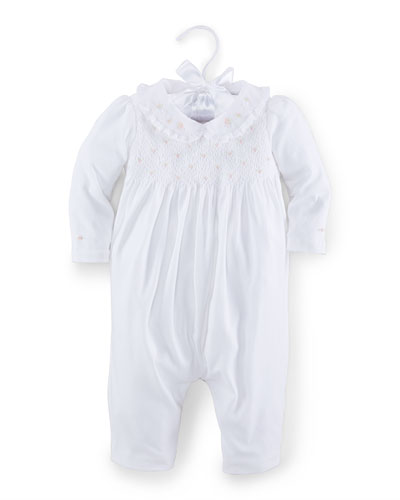 Embroidered Pima Coverall, White, Size 3-12 Months
