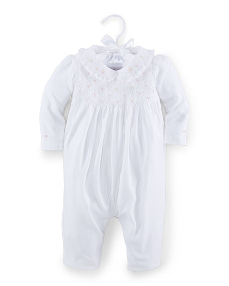 Ralph Lauren Childrenswear Embroidered Pima Coverall, White, Size