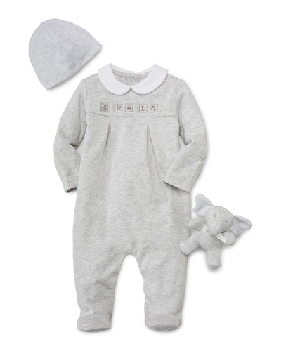 Pleated Footie Pajamas w/ Baby Hat & Stuffed Elephant, Quartz Heather, Size Newborn-9 Months