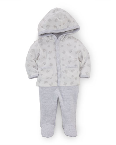 Hooded Teddy Bear Top & Striped Pants, Paper White/Gray, Size Newborn-9 Months