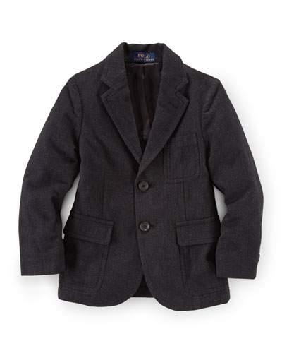 Princeton Cotton-Blend Two-Button Blazer, Black, Size 2-7