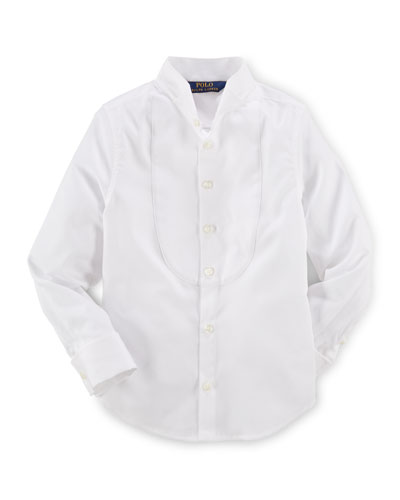 Long-Sleeve Cotton Tuxedo Shirt, White, Size 2-6X