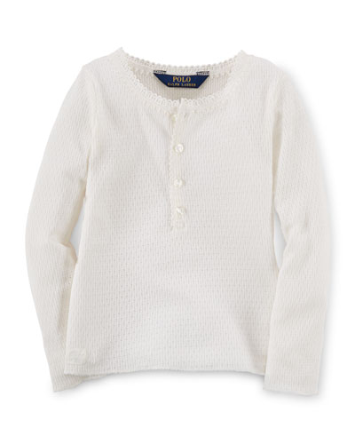 Long-Sleeve Knit Henley Tee, Cream, Size 2-6X