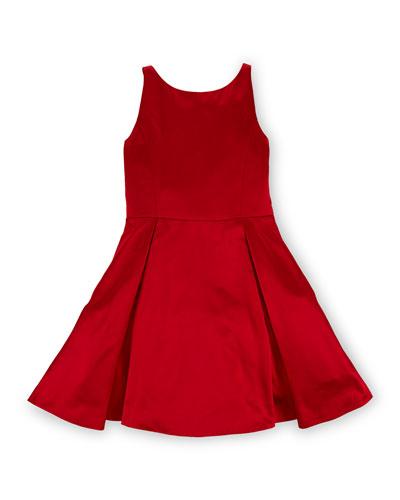Sleeveless Pleated Silk Dress, Red, Size 2-6X