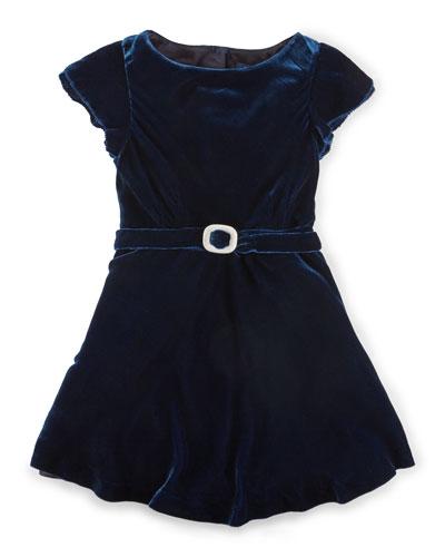 Cap-Sleeve Velvet A-Line Dress, Jewel Blue, Size 2-6X