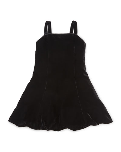 Sleeveless Velvet Fit-and-Flare Dress, Black, Size 2-6X