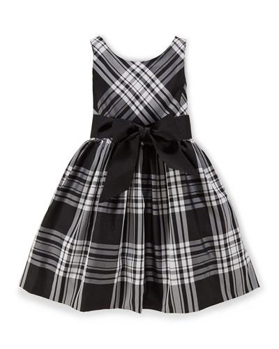 Sleeveless Plaid Taffeta Dress, Black/Cream, Size 2-6X