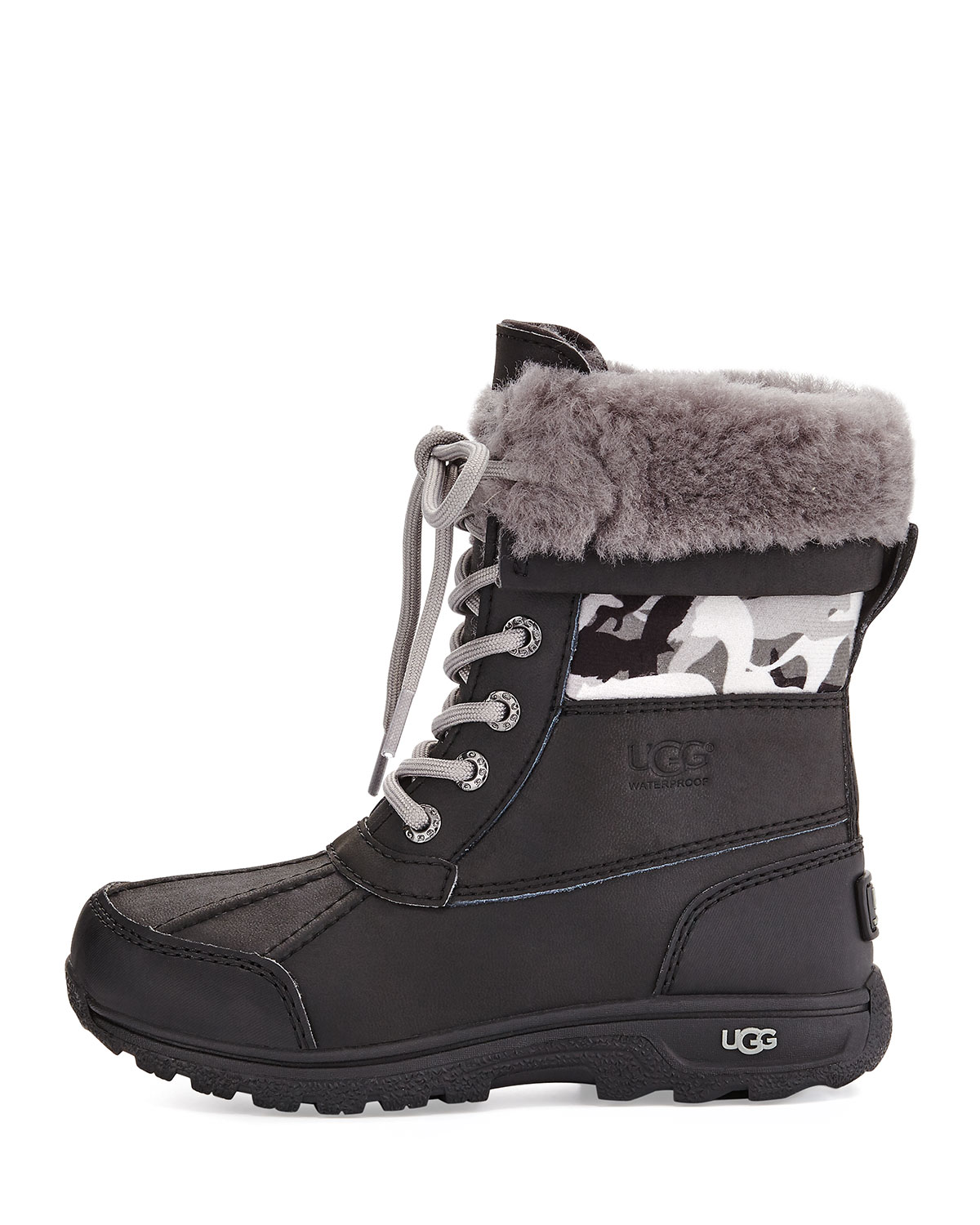 b974b24e286 Butte II Backcountry Camo-Trim Leather Boots, Black, Youth