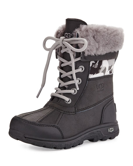UGG Butte II Backcountry Camo-Trim Leather Boots, Black,