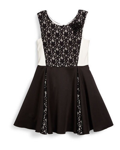 Sleeveless Lace-Trim Ponte Dress, Black/White, Size 7-14