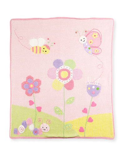 Hand-Loomed Cotton Garden Baby Blanket, Pink
