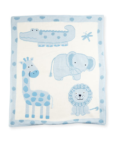 Hand-Loomed Cotton Jungle Baby Blanket, Blue