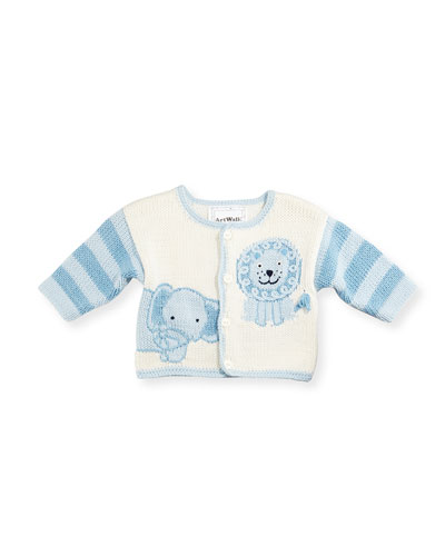 Hand-Loomed Cotton Jungle Sweater, Blue, Size 6-12 Months