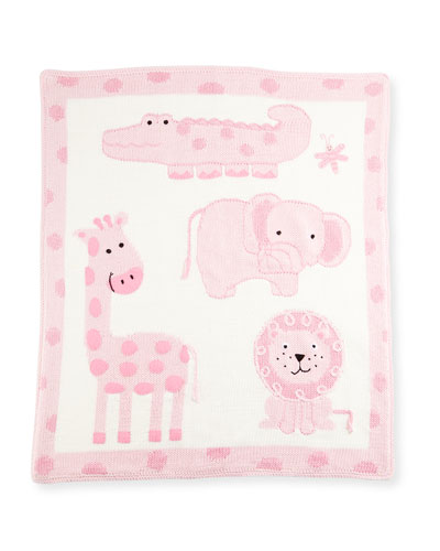 Hand-Loomed Cotton Jungle Baby Blanket, Pink