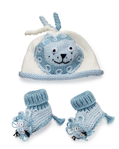 Cotton Jungle Hat & Bootie Set, Blue