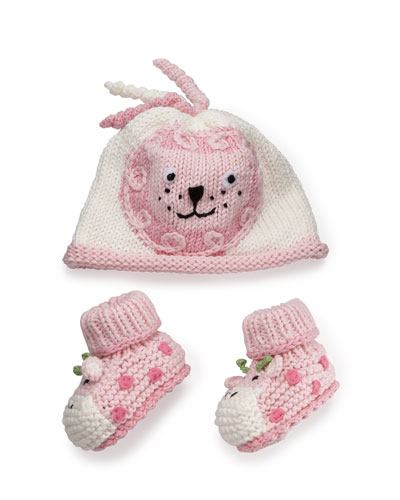 Cotton Jungle Hat & Bootie Set, Pink
